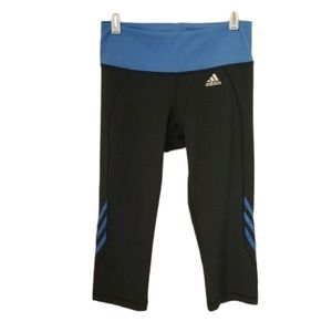 Adidas grey capri leggings with blue trim